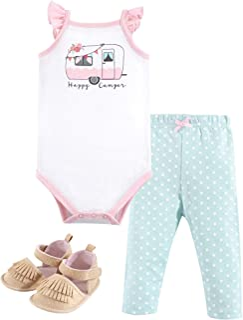 Hudson Baby Baby Girls` Cotton Bodysuit, Pant and Shoe Set
