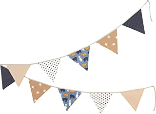 100% Cotton Fabric Bunting Flag Garland Pennant Banner by ULLENBOOM | Bears/Star/Checkered | Baby Shower/Party/Nursery | 11 Ft - Unisex Beige