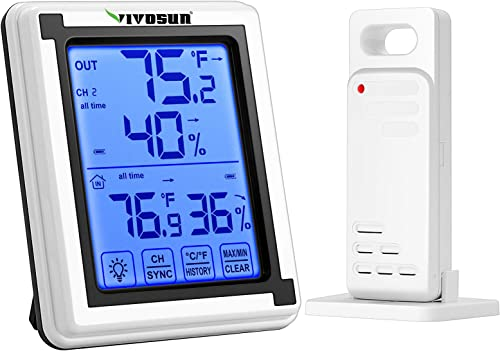 2021 VIVOSUN Digital Hygrometer Indoor Outdoor online sale Thermometer Humidity Monitor with Touchscreen LCD Backlight, Temperature Gauge Meter 200ft/60m Range Wireless Thermometer and Hygrometer, Battery online Included outlet sale