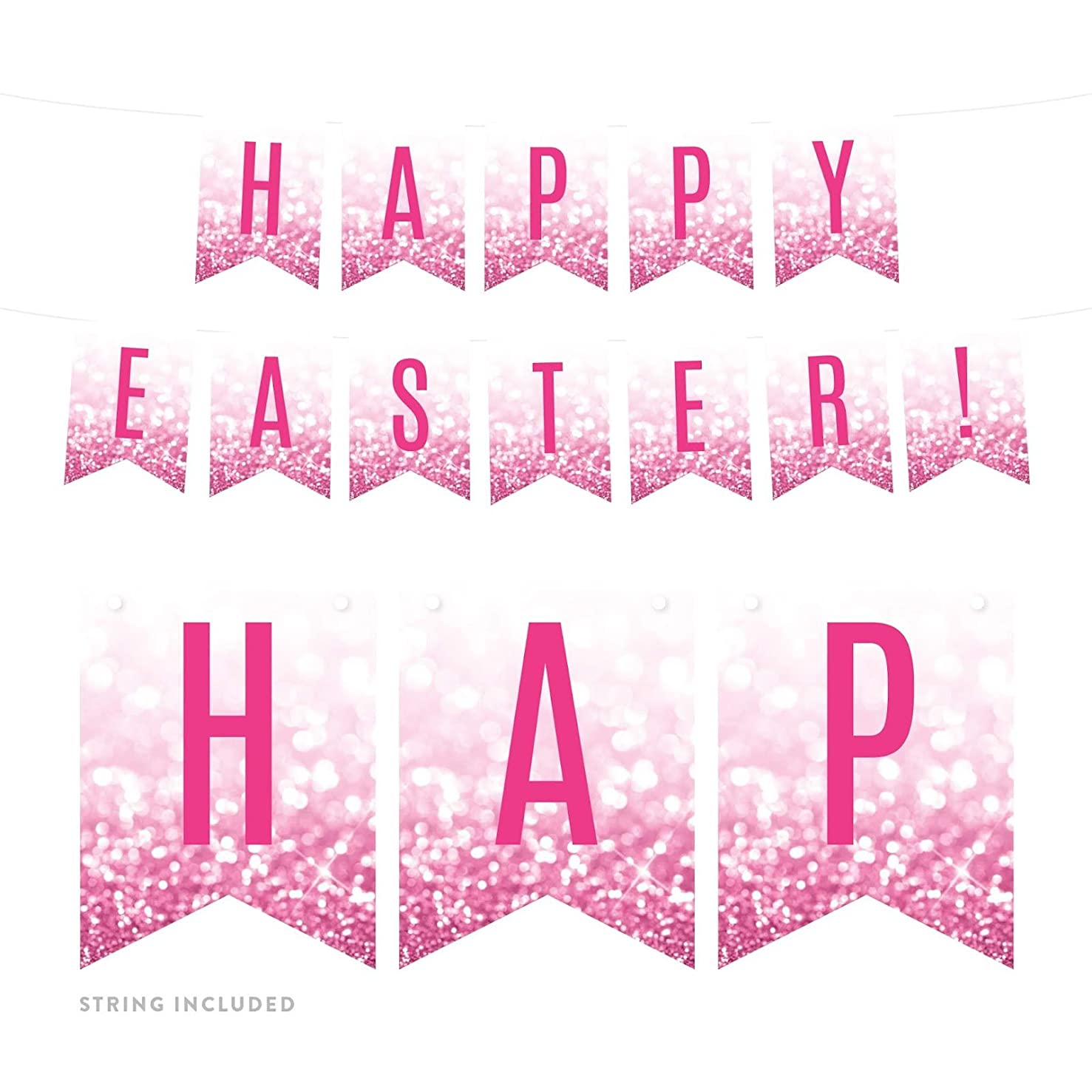 Andaz Press Faux Glitzy Pink Glitter Party Banner Decorations, Happy Easter!, Approx 5-Feet, 1-Set, Colored Hanging Pennant Decor