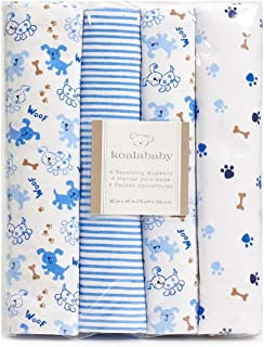 Koala Baby 4-Pack Flannel Receiving Blankets (Blue & Brown Puppy)