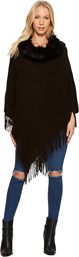 Steve Madden - Solid Rib Poncho with Faux Fur Collar
