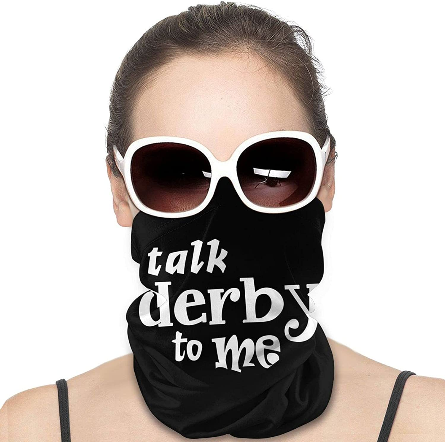 Talk Derby to Me Round Neck Gaiter Bandnas Face Cover Uv Protection Prevent bask in Ice Scarf Headbands Perfect for Motorcycle Cycling Running Festival Raves Outdoors