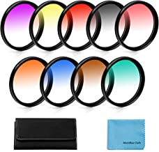 58mm Graduated Color Filters Kit 9 Pieces Gradual Colour Lens Filter Kit Set Accessory for Canon Nikon Sony Pentax Olympus...