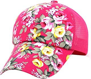 Fiaya Embroidery Cotton Baseball Cap Boys Girls Floral Printing Adjustable Snapback Hip Hop Flat Hat (Hot Pink)