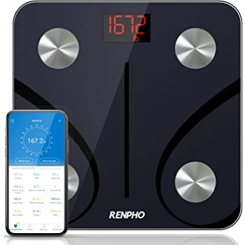 RENPHO Bluetooth Body Fat Scale, Digital Weight Scale Bathroom Smart Body Composition Analyzer Wireless BMI Scale Health Monitor with Smartphone APP, 396 lbs