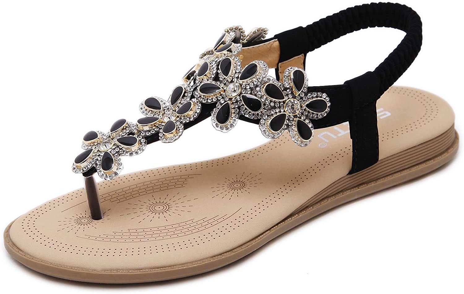Open-Toed Sandals Flat Soles Slippers Flip-Flops Beach shoes Bohemian Style Flower Diamond shoes