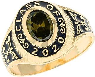 JackAni 10k Yellow Gold Simulated Birthstone 2020 Class Graduation Ring (Style#2567) - Size: 0