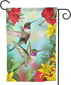 Hummingbirds Flower Hibiscus Lilies Small Garden Flag Tropical Flower Leaves Birds house flag Vertical Double Sided Yard Outdoor Decor Twin Sides 12.5 X 18 Inch