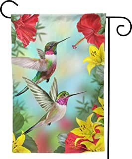 Hummingbirds Flower Hibiscus Lilies Small Garden Flag Tropical Flower Leaves Birds house flag Vertical Double Sided Yard O...