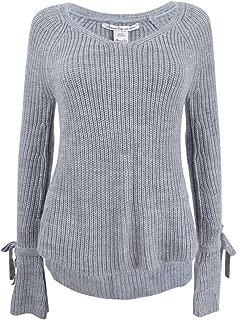 Juniors' Tie-Trim Bell-Sleeved High-Low Sweater