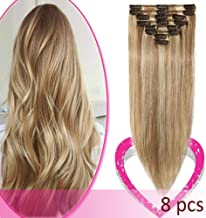 Remy Clip in Hair Extensions 100% Human Hair 10 Inch 50g Standard Weft 8 Pcs 18 Clips Soft Silky Straight Hair for Women Highlight #12/613 Golden Brown Mix Bleach Blonde