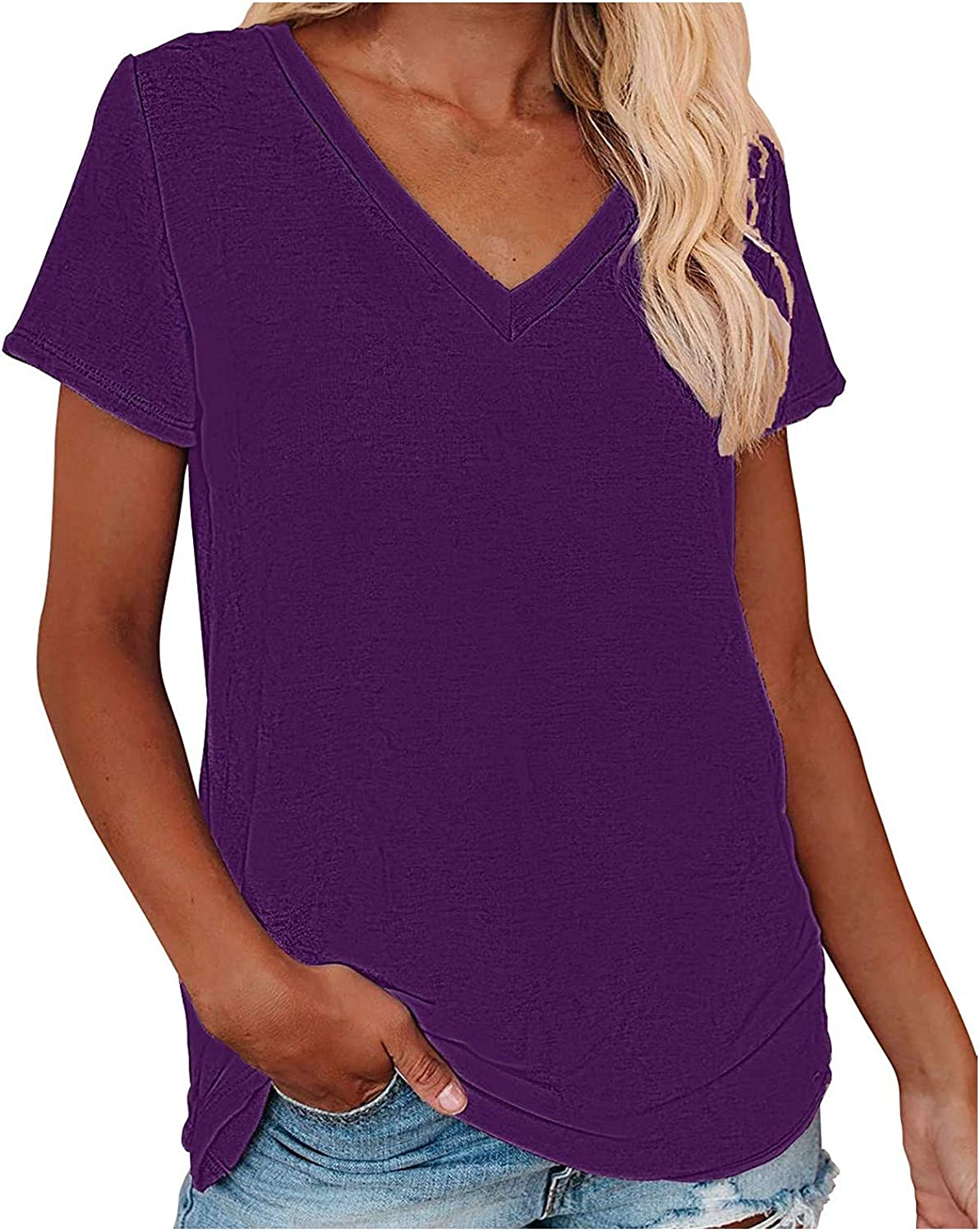 FUNEY Womens Tops Summer Short Sleeve V Neck T Shirts Casual Cozy Loose Fit Workout Tops Tunic Blouses for Women Teen Girls