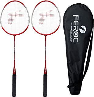 Feroc FR 3003 Red Aluminum Badminton Racquet with Full Cover Set of 2
