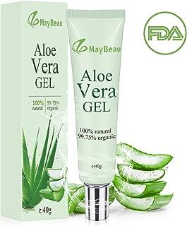 MayBeau Organic Aloe Vera Gel 1.4oz Acne Scar Treatment Portable Size Scar Cream for Face Moisturizing Sunburn Eczema Itching Burn