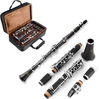 EASTROCK Beginner Student Clarinet Bb Flat 17 Nickel Keys Clarinet with 2 Barrels,Case,Stand,Carekit and More