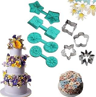 2021 nouvel ensemble de moules d'art de sucre de fleur de fleur - 8 pièces 3D fondant fleurs moules, fleur Cupcake Toppers...