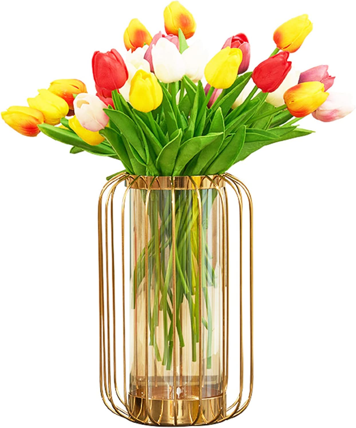 Glass Vase for Some reservation Flower with Hollow-Carved wholesale Ddesign Frame Metal La