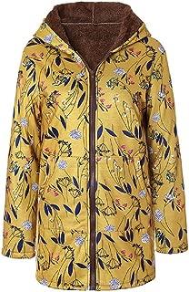 neveraway Women's Winter Coat Floral Print Fleece Lined Warm Parka Coat