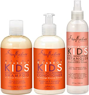 Shea Moisture Kids Hair Care Combination Pack – Includes Mango & Carrot 8oz KIDS Extra-Nourishing Shampoo, 8oz KIDS Extra-...