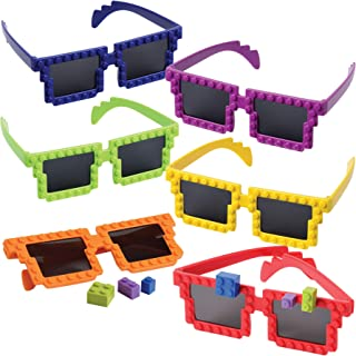 Building Blocks Glasses (Pack Of 6) Cute Looking Brick Glasses, 5 5/8 Inch, With Extra Block Pieces, In Neon Colors, For K...