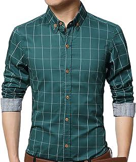 50dc3b0eb89a AIYINO Mens Slim Fit Long Sleeve Plaid Printings Business Checked Shirt