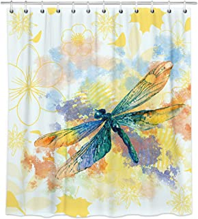 Bonsai Tree Colorful Animal Fabric Shower Curtain,Waterproof Polyester Watercolor Art Dragonfly Bath Curtain with Hooks,72