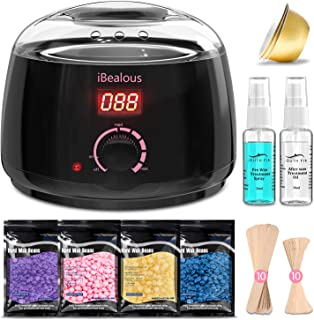 Waxing Kit Wax Warmer, iBealous Wax Warmer with 4 Bags Painless Hard Wax Beans Hair Removal Kit with Digital Display to Ea...