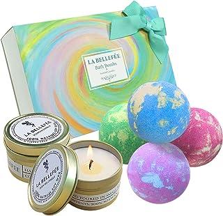 LA BELLEFÉE Bomby kąpielowe, zestaw upominkowy ze świecami zapachowymi, naturalne kule do kąpieli, do relaksu, luksusowy p...