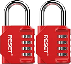 RST-060 2 Pack 4 Digit Combination Lock,Outdoor Padlock for School Gym Sports Locker,Fence,Toolbox,Gate,Suitcase,Hasp,Red