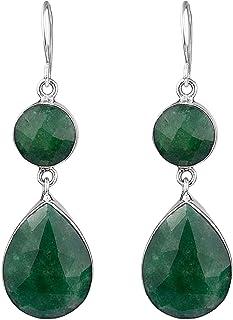 0bfafe695 Boucles d'oreilles pendantes en argent sterling 925, émeraude naturelle,  12,45