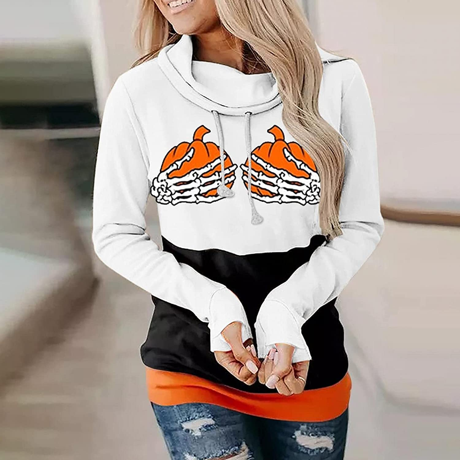 Women Long Sleeve Halloween Sweatshirt Stitching Print Loose Tops Casual Cute Hooded Blouse for Lady
