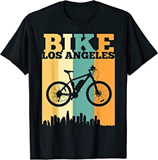 Vintage Bike Los Angeles Skyline E-Bike Rider Commuter Tee