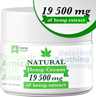 Organic Hemp Pain Relief Cream with Arnica, Aloe, 19 500 Mg