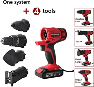 GETUHAND Cordless Tools Combo Kit with Case, 20V Lithium Ion Power Tools Combo Kit, 4-IN-1 Tool-3/8