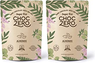 ChocZero's Keto Bark, Dark Chocolate Almonds with Sea Salt. Sugar Free, Low Carb. No Sugar Alcohols, No Artificial Sweeten...