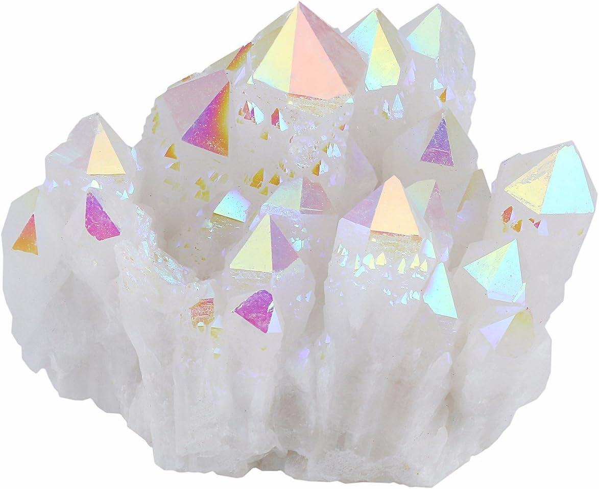 mookaitedecor Titanium Coated Natural Rock Crystal Cluster Geode Stone Specimen, Angel Aura Quartz, 0.22lb-0.44lb