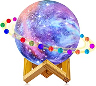 Starry Moon Lamp, LOGROTATE Galaxy Night Light 16 Colors 3D Print LED Moon Light with..