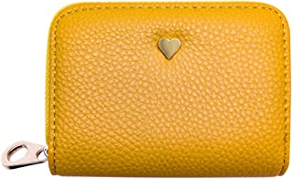 RFID Blocking Card Holder Wallet for Women, Leather Credit Card Holder Zipper Wallet (07 Yellow)