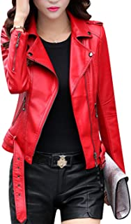 Women's Classic Style Faux Leather Moto Jacket with Belt