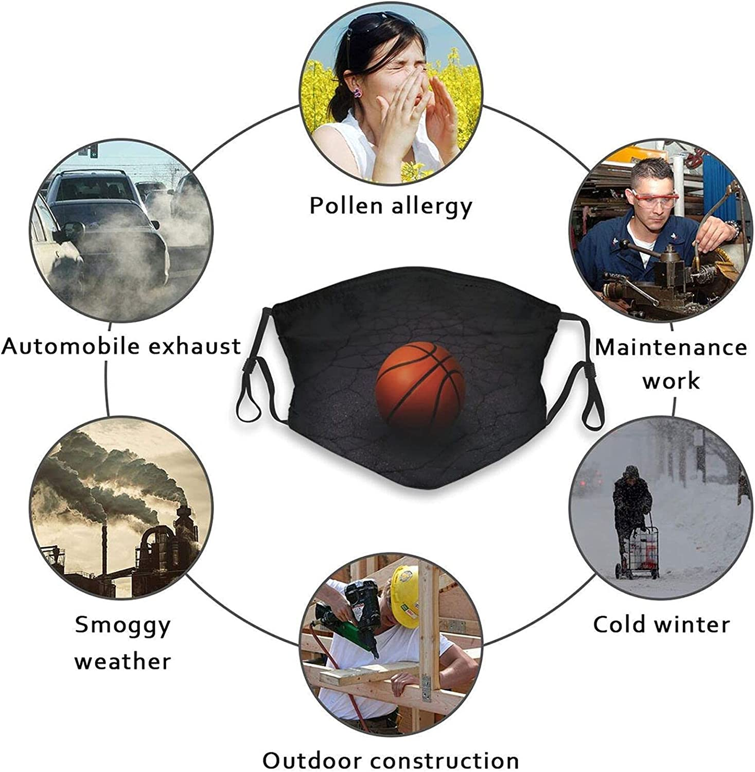Basketball Slam Down Face Mask Reusable Washable Adjustable Balaclavas with 2 Filters for Men Women