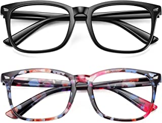 WOWSUN Unisex Stylish Nerd Non-prescription Gl, Clear Lens Eyegl Frames, Fake Gl