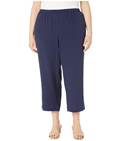 Eileen Fisher Plus Size Silk Georgette Crepe Straight Cropped Pants (Midnight) Women