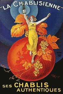 Lady Girl Globe La Chablisienne Chablis Wine Grapes Drink Bar Restaurant Vintage Poster Repro 24