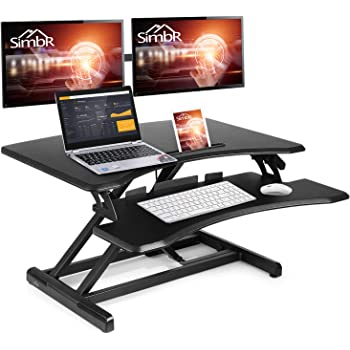 SIMBR Standing Desk Converter Computer Desk Quick Sit to Stand Tabletop Height Adjustable Gas Spring Desk Riser Stand up Desk Workstation with Keyboard Tray