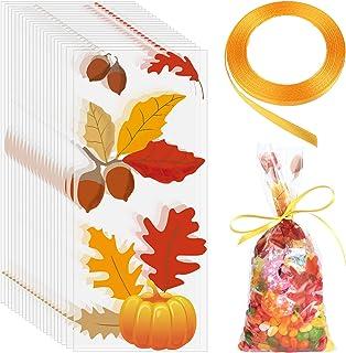 100 Pieces Fall Cellophane Bags Pumpkin Fall Leaves Cellophane Bags Halloween Pumpkin Bags Thanksgiving Cellophane Bags wi...