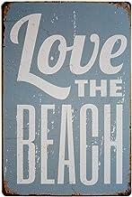 Pôster ERLOOD Love The Beach Vintage Funny Tin Sign Wall Retro Metal Bar Pub 20,32 x 30,48 cm