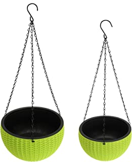 Foraineam 2-Pack Dual-pots Design Hanging Planters Self-Watering Garden Plant Pots Indoor Outdoor Flower Hanging Baskets w...