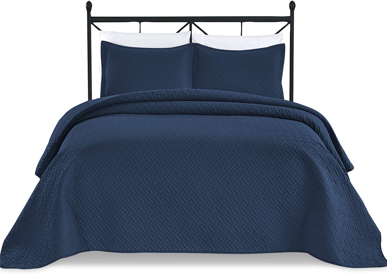 Basic Choice 3-Piece Light Weight Oversize Quilted Bedspread Coverlet Set - Navy bluee, King California King