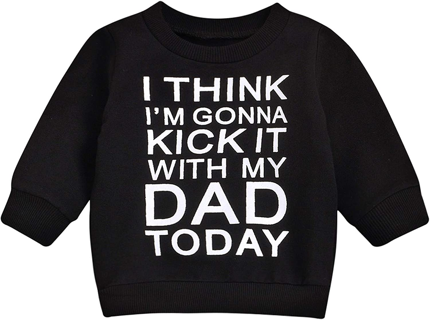 Baby Boy Girl T-Shirt Letter Print Tee Long Sleeve Pullover O-Neck Top Unisex Fall Winter Outfit
